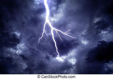 Lightning strike in the sky.