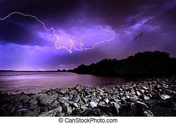 Lightning Strike - Lightning Storm in Adelaide, South...
