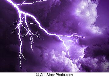 Lightning strike. - Lightning strike on the cloudy dark sky.