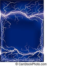 Lightning strike on dark blue frame background .Mesh