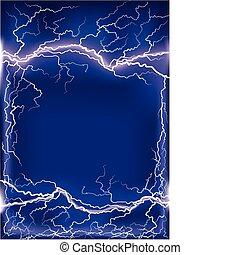 Lightning strike on dark blue frame background .Mesh