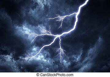Lightning strike on the sky. - Lightning strike on the...
