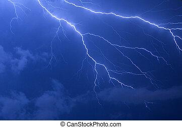 Lightning Strike - Blue lightning strike electrical storm...