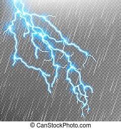 Lightning strike. Rain template with flash. EPS 10