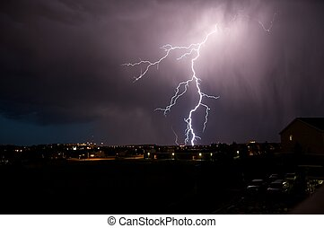 Lightning Strike. Severe Weather in Colorado. Night...