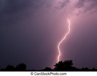 Lightning Strike - Single bolt of lightning in a ...