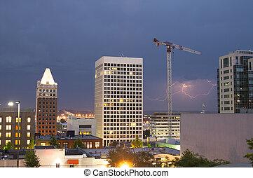 Lightning Strike Thunderstorm Over Buildings Downtown Tacoma
