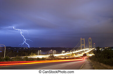 Lightning Strike Thunderstorm Over Narrows Bridge Tacoma