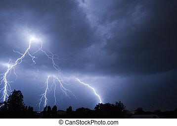 Lightning Strike v4 - Lightning Strike On A Night Sky