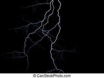 Lightning strikes against black background