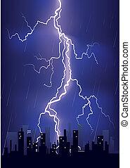 Lightning strikes in big city - Lightning strikes and rain...