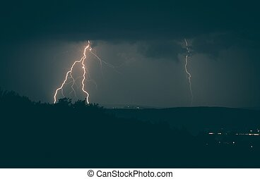 Lightning Strikes Stormy Night