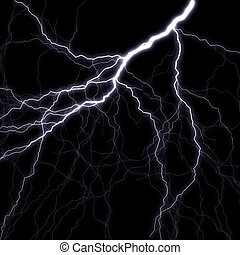 Lightning stroke in the night sky. A raster illustration