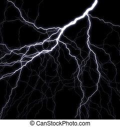 Lightning stroke in the night sky. A raster illustration