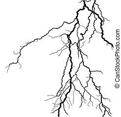 Lightning stroke in the sky.