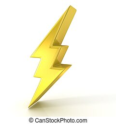 Lightning symbol, 3d golden sign isolated on white ...