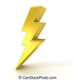 Lightning symbol, 3d golden sign isolated on white ...