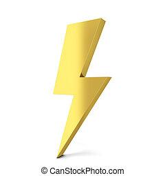 Lightning symbol. 3d illustration isolated on white...