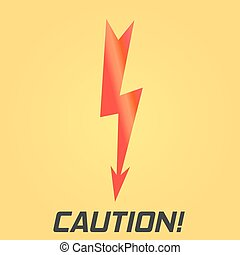 Lightning symbol. With text. Single on yellow background.