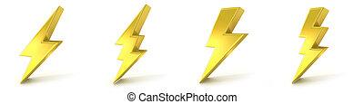 Lightning symbols, 3D golden signs. Render illustration ...
