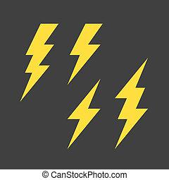Lightning symbols set - Flat style lightning symbols set