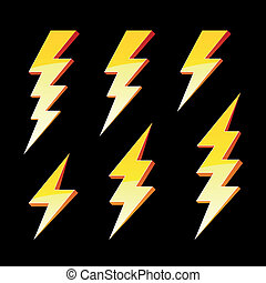 Vector illustration of lightning symbols