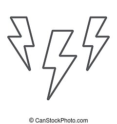 Lightning thin line icon, storm and forecast, thunder sign, vector graphics, a linear pattern on a white background.