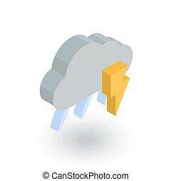 Lightning, thunder storm, rain and cloud isometric flat...