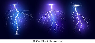 Lightning. Thunder storm realistic lightnings set. Magic and bright light effects. Vector Illustration isolated on dark background