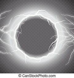 Lightning vector round text frame on transparent background