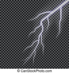 Lightning vector. Transparent lightning effect