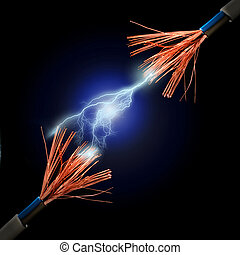 Lightning. - Wire and electric discharge over black...