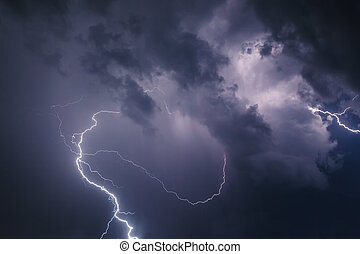 Lightning with dramatic clouds