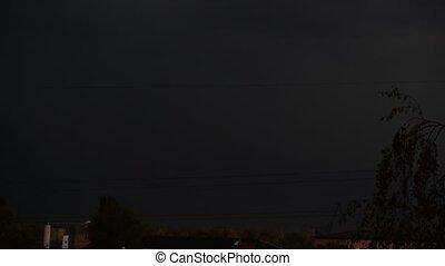 Lightnings at night in a city
