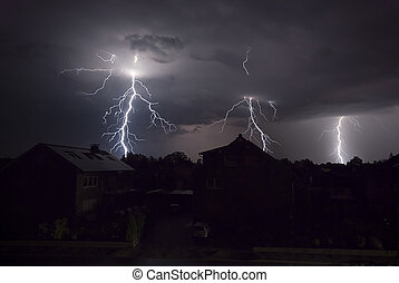 Lightnings at night - The picture shows a thunderstorm at ...
