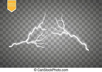 lightnings., brillante, magia, iluminación, conjunto, ...