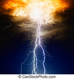 Lightnings in dark sky - Apocalyptic dramatic background -...