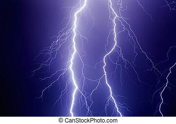 Lightnings in dark stormy sky