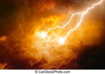 Lightnings in red sky