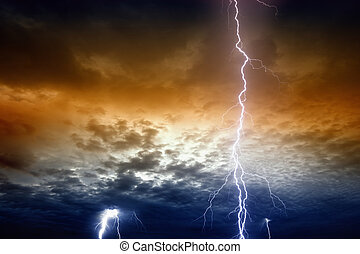Lightnings in stormy sunset sky - Dramatic background -...