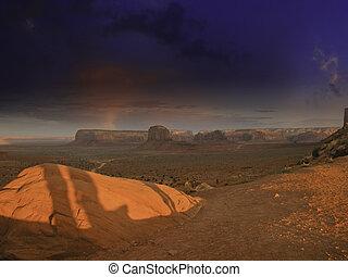 Lightnings over Monument Valley