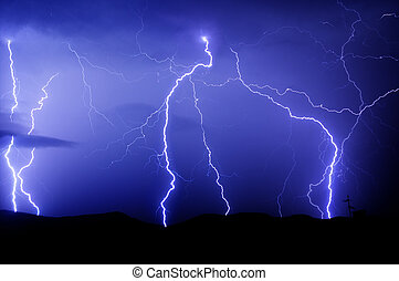 Lightnings strike - Many lightnings and blue sky with clouds