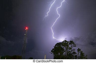 lightpost, onweer, stakingen, elektrische storm, seaboard, ...
