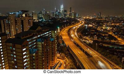 Lightrails Kuala Lumpur Busy Hiway - Timelapse of Kuala...