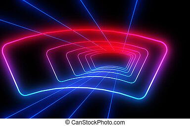 lights., 抽象的, 3d, ネオン, トンネル, イラスト