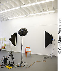 Lights aimed at chair. - Studio shot of photographic lights...
