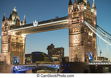 Lights and Colors of Tower Bridge from St Katharine Docks at Night - London - UK