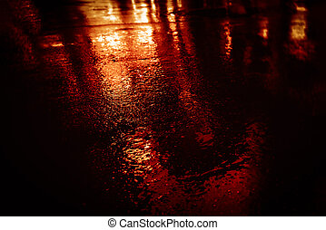 NYC streets after rain with reflections on wet asphalt - ...