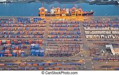 Lights at a Shipping Port at Night