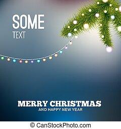 lights., baum, hintergrund, zweig, weihnachten